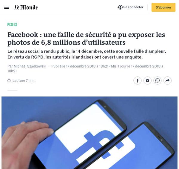Failles et piratages de photos sur le réseau social Facebook
