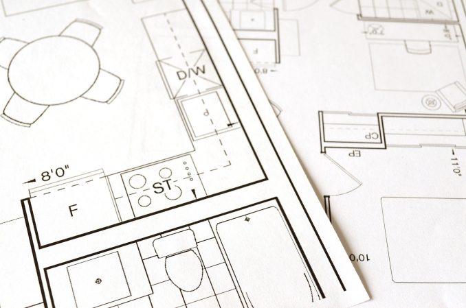 Plan d'architecte pour la construction d'une maison neuve