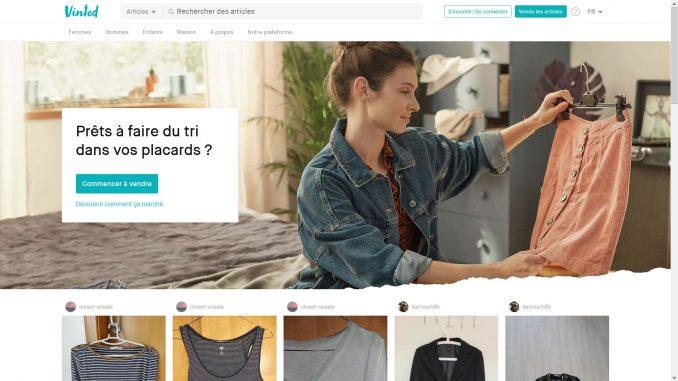 Capture d'écran du site Vinted